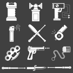 White icons collection of self-defense