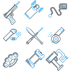 Flat line icons collection of self-defense