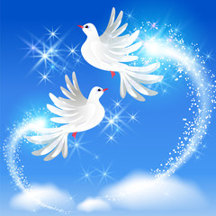 Flying two doves and sparkling salute