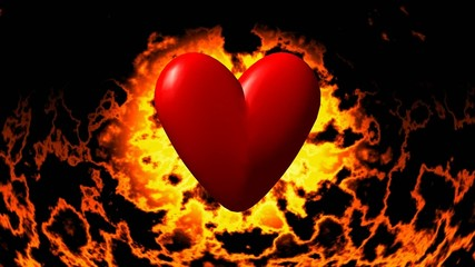Burning heart in fire seamless loop video