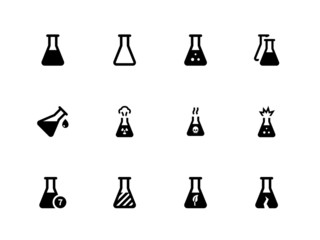 Laboratory flask icons on white background.