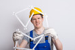 Leinwanddruck Bild - Bauarbeiter mit Zollstock