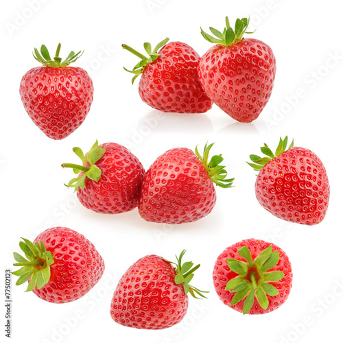 Strawberry fruits on white. Collection - 77502123