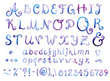 Fototapety Hand drawn watercolor elegant font with swirls