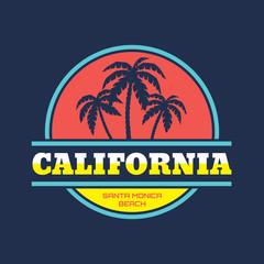 California Santa Monica - vector illustration for T-Shirt print