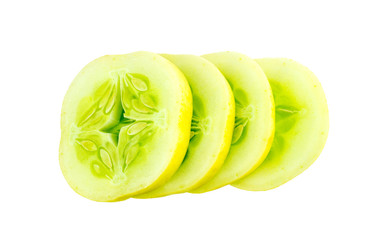 Sliced cross sections of apple cucumber isolated on white