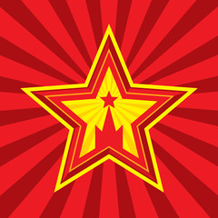 Star with Kremlin symbol. Russia and USSR symbol.