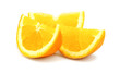Beautiful cut pieces of fresh orange isolated on white backgroun