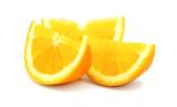 Beautiful cut pieces of fresh orange isolated on white backgroun