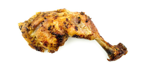 Roast chicken leg drumstick isolated on white