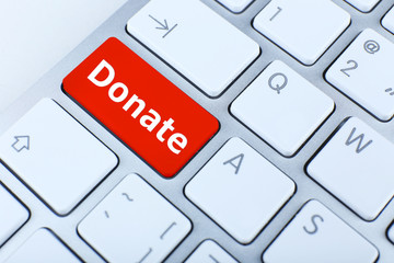 Close up of Donate keyboard button