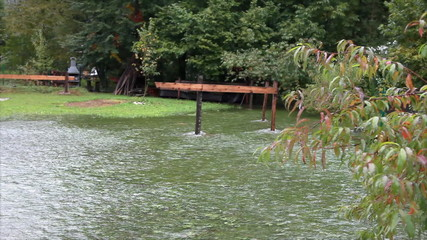 View of water in the garden during the flood