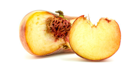 Donut peach fruit with slice and core isolated on white