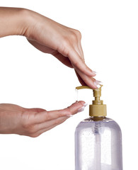 A hand soap with pumping lotion from bottle