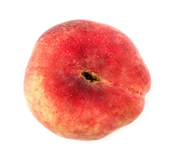 Aerial of isolated donut saturn peach fruit on white