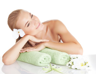 Beautiful woman enjoying spa salon