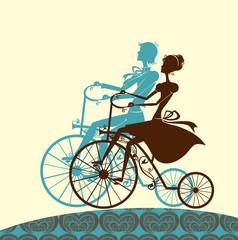 Walk. Man and woman riding on a retro bikes.