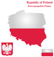 Flag and coat of arms of the Republic of Poland