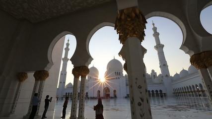amazing sunset Sheikh Zayed Grand Mosque