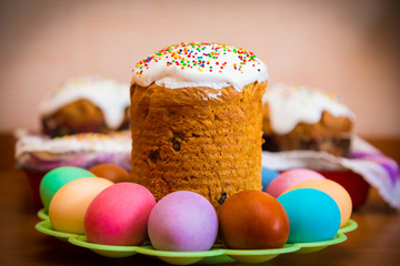 Sweet Easter cake with colorful eggs