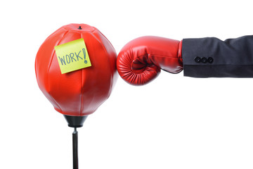 businessman fist punch punching bag , business concept