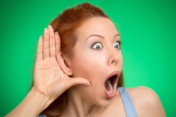 nosy woman hand to ear gesture eavesdropping shocked