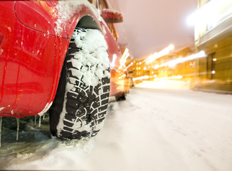 car with winter tyre