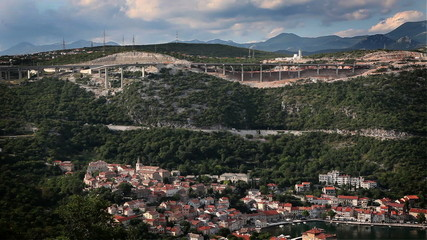 Panoramic shot of a very traffic and industrial bay  of adriatic sea