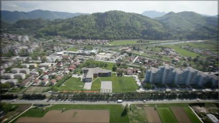 Slovenia landscape from sky.