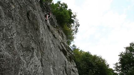 HD1080p: Man rock clikbing in beautiful nature
