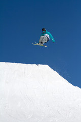 skier jumps in Snow Park,  ski resort