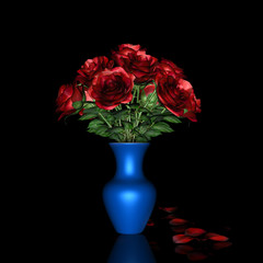 Red Rose and blue pot