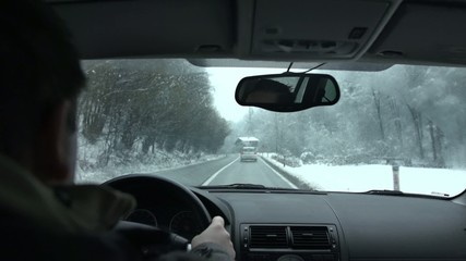 Winter drive on the highway
