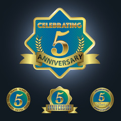 Celebrating 5 Years Anniversary - Blue seal with golden ribbon