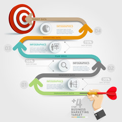 Business step target marketing dart infographic.