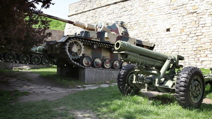 Shot of exhibition of old guns used in war