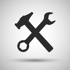 Wrench and hammer. Tools icon.
