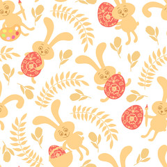 Seamless pattern of Easter bunnies