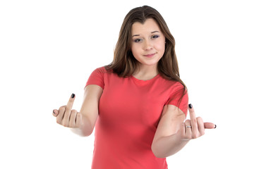 Photo of teenage girl with middle fingers