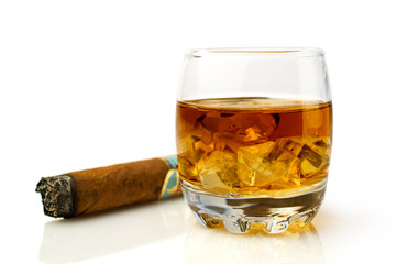 whiskey with ice cubes and  cigar