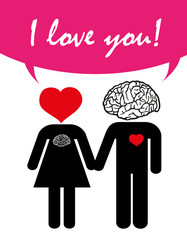 love couple, valentine's day, love with heart and brain