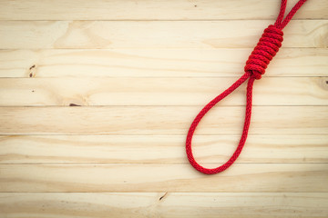 Rope with knotted and paper note