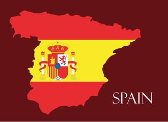 Spain map with flag inside, Spain map, Spain flag