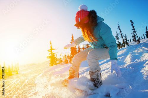 obraz PCV snowboarder kobiet