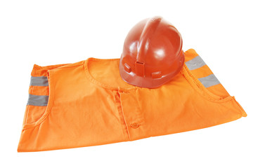 Working bright orange vest and a helmet isolated over white
