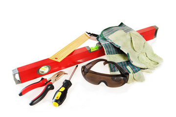 Working tools and some protective things over white background