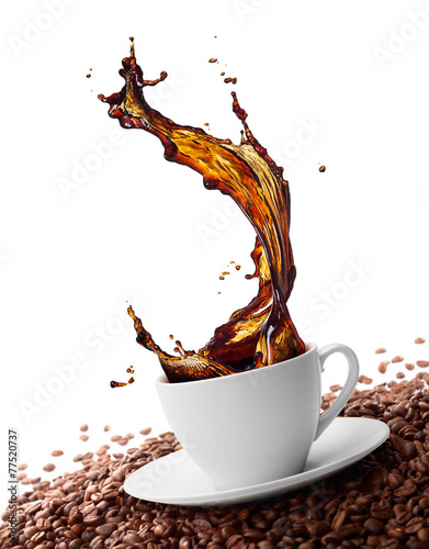 Deurstickers Koffie splashing coffee