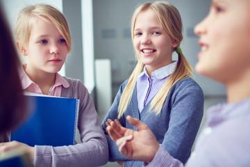 Twin schoolgirls