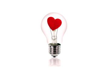 heart inside the light bulb.Love concept