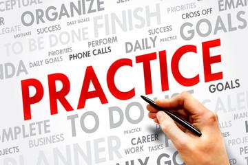 PRACTICE word cloud, business concept
